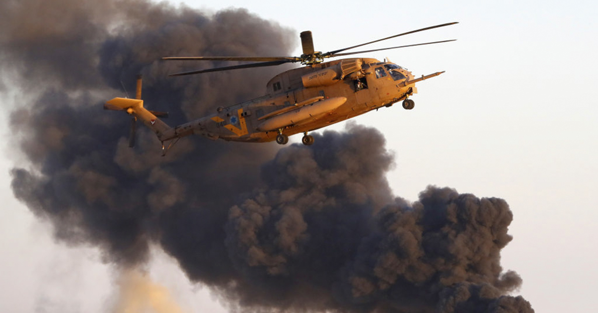An Israeli Sikorsky CH-53 Sea Stallion helicopter performs during an air show at the graduation ceremony of Israeli Air Force pilots at the Hatzerim base in the Negev desert, near the southern Israeli city of Beer Sheva, on June 27, 2019. (JACK GUEZ/AFP/Getty Images)