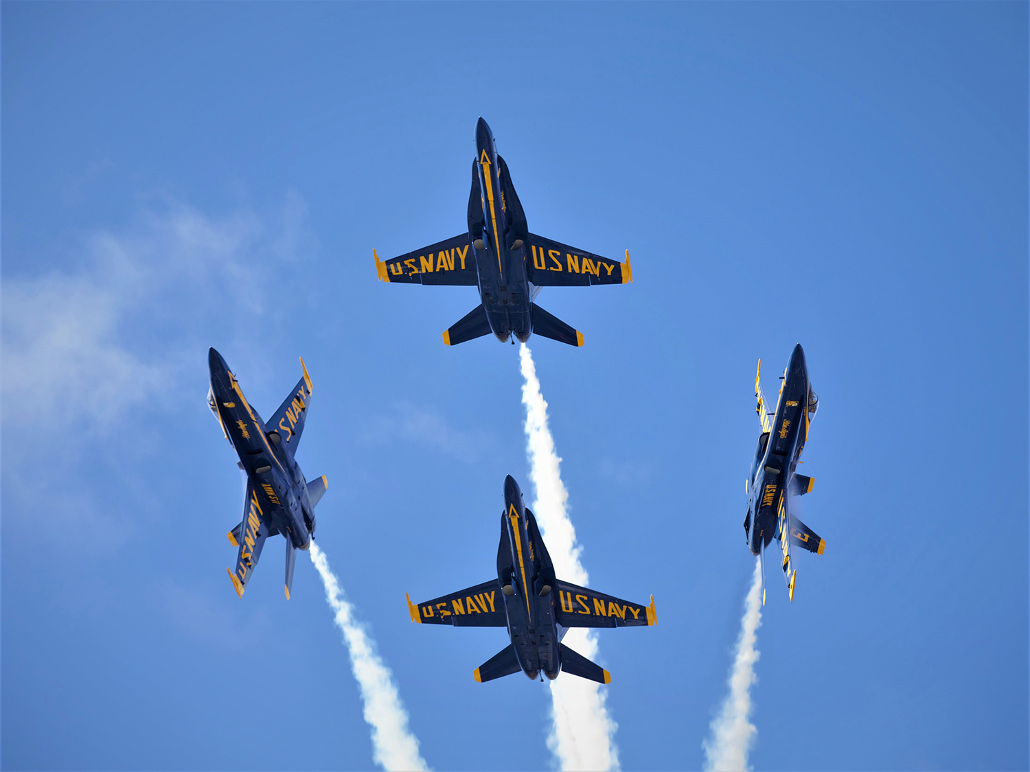 The U.S. Navy Blue Angels demonstrate the capabilities of the F/A-18 Hornet at the 2019 Marine Corps Air Station Miramar Air Show on MCAS Miramar, Calif., Sept. 28. (Pfc. Mackson/Marine Corps)