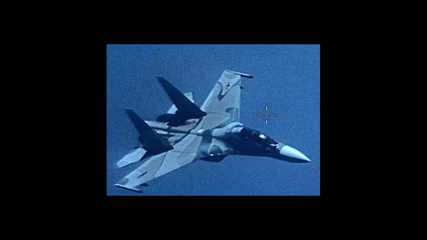 "An image of a Venezuela SU-30 Flanker that ""aggressively shadowed"" a U.S. EP-3 Aries II at an unsafe distance July 19, 2019, jeopardizing the crew and aircraft. (U.S. Southern Command)"