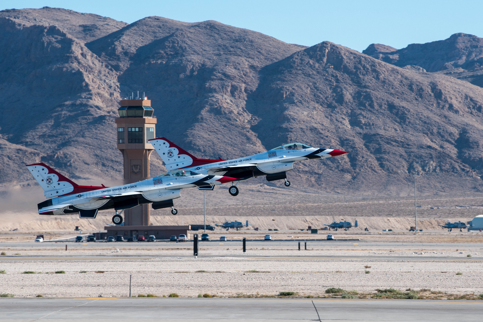 The U.S. Air Force Thunderbirds train for the 2019 show season at Nellis Air Force Base, Nev., Jan 3. 2019. (Staff. Sgt. Ashley Corkins/Air Force)