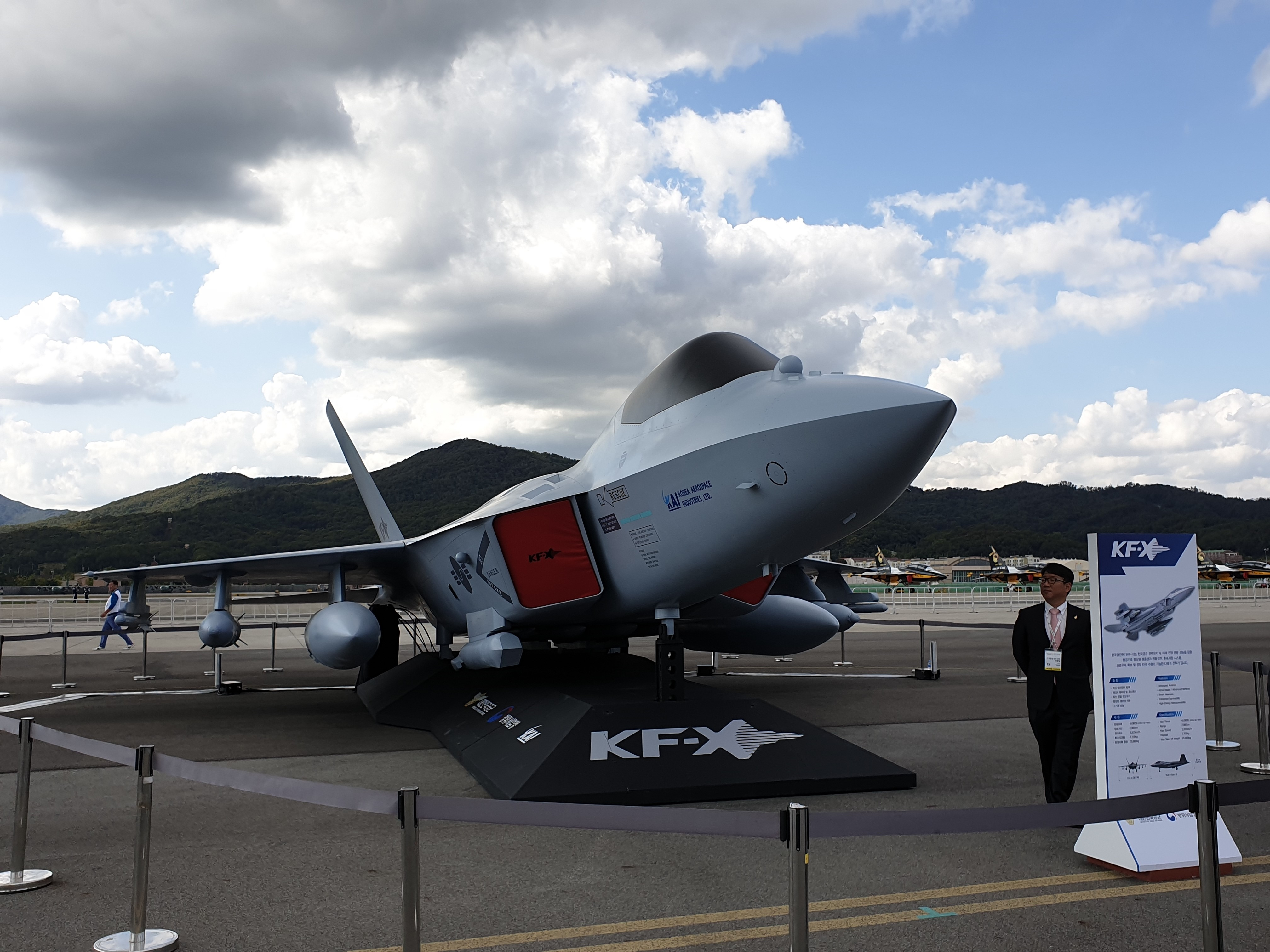 Korea Aerospace Industries unveiled the full-sized mock-up for the first time at the Seoul Aerospace and Defense Exhibition, or ADEX.