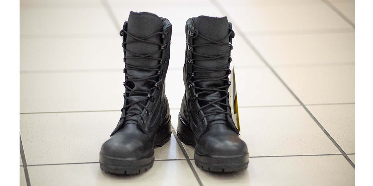 The Navy's new improved safety boot for industrial and at-sea environments that incorporates four new comfort features over the 9-inch Navy Working Uniform Boot (Mark D. Faram/staff)