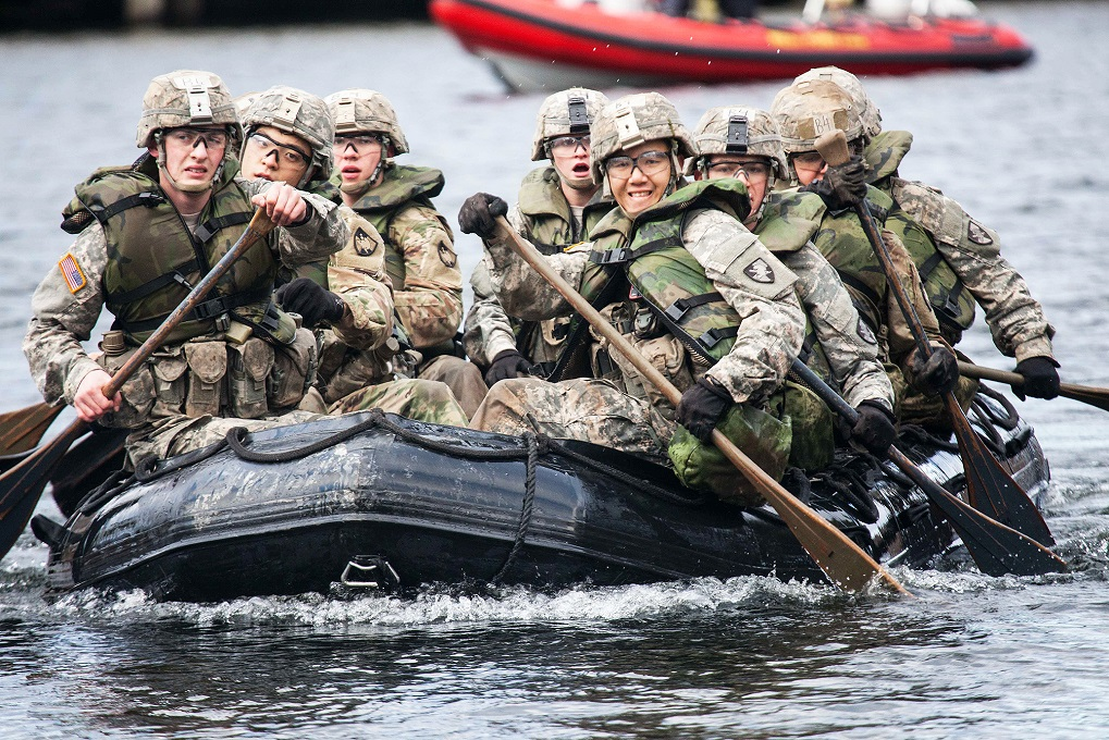 During Sandhurst, teams representing international military academies, the U.S. service academies and eight ROTC programs compete in 11 events throughout a 23-mile course. (Michelle Eberhart/Army)
