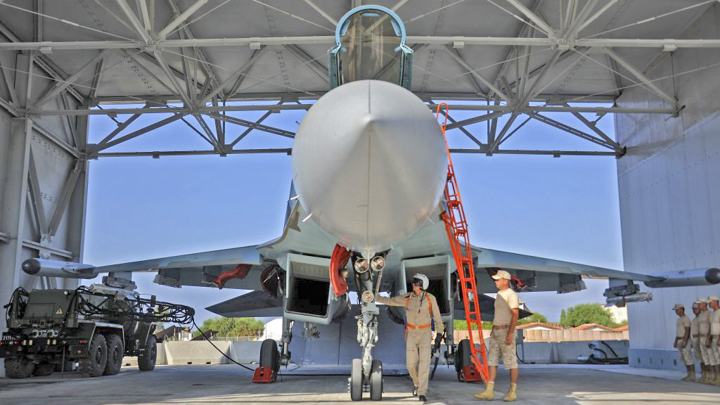 A Russian Sukhoi Su-35 fighter jet is prepared for take off at the Russian military base of Hmeimim, located south-east of the city of Latakia in Hmeimim, Latakia Governorate, Syria, on September 26, 2019. Russia often refers to troops it deployed in Syria as military advisers even though its forces and warplanes are also directly involved in battles against jihadists and other rebels (MAXIME POPOV/AFP/Getty Images)