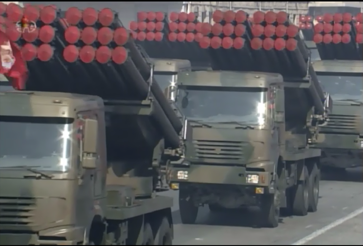 North Korea shows off its multiple launch rocket systems (theM1985 and M1991 are produced by the country). (Korean Central Television)