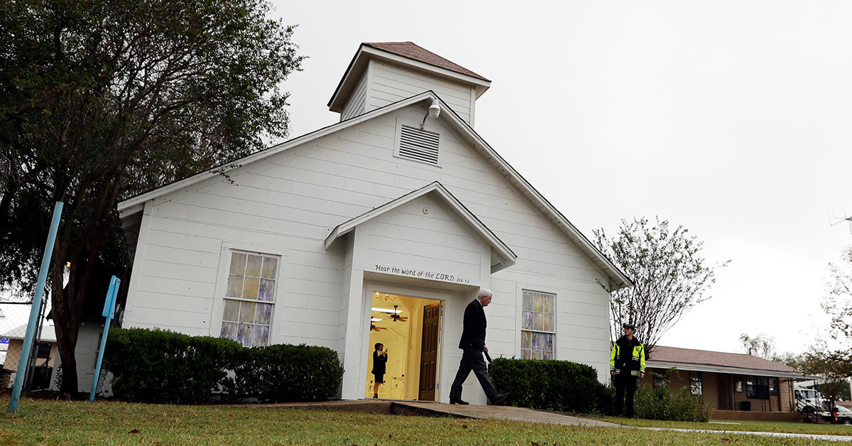 In this Nov. 12, 2017, file photo, a man walks out of the memorial for the victims of a shooting at Sutherland Springs First Baptist Church in Sutherland Springs, Texas. A judge will consolidate all federal lawsuits against the U.S. Air Force over the 2017 South Texas church shooting that killed more than two dozen worshippers. The gunman formerly was in the military. (Eric Gay/AP)