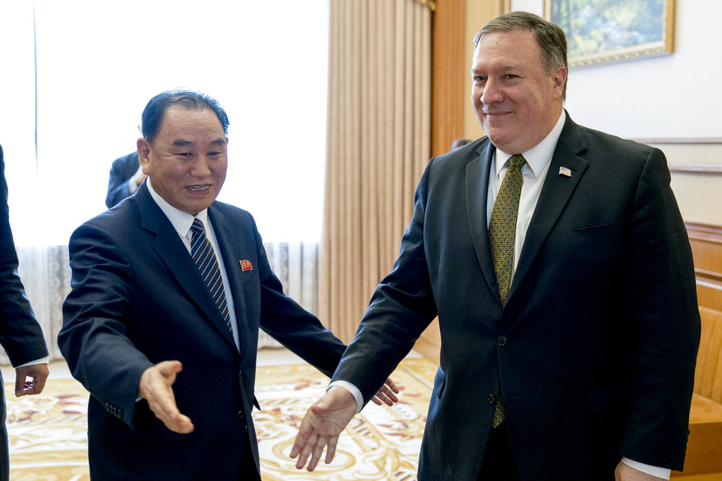 In this July 7, 2018, file photo, U.S. Secretary of State Mike Pompeo, right, and Kim Yong Chol, a North Korean senior ruling party official and former intelligence chief, arrive for a lunch at the Park Hwa Guest House in Pyongyang, North Korea. (Andrew Harnik, Pool via AP)