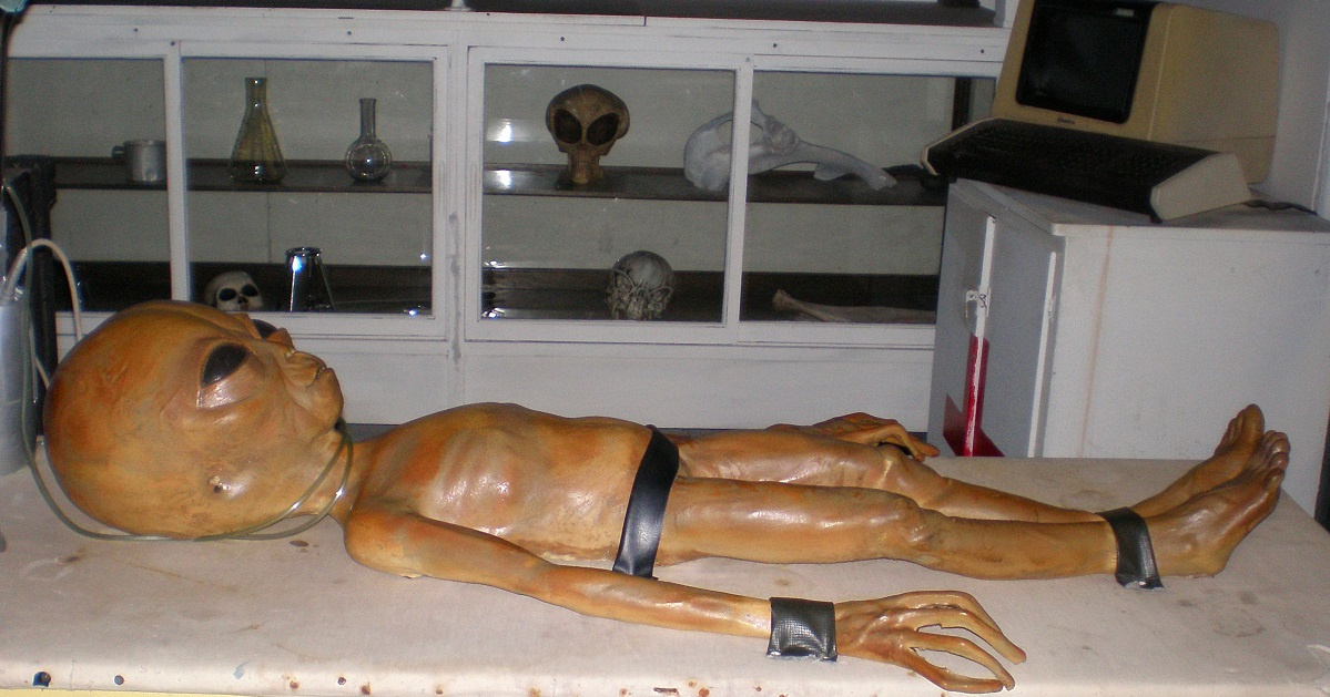 An Area 51 exhibit at the Alien Zone in Roswell, N.M., shows a staged alien autopsy in December 2006. (Justin Norton/AP)