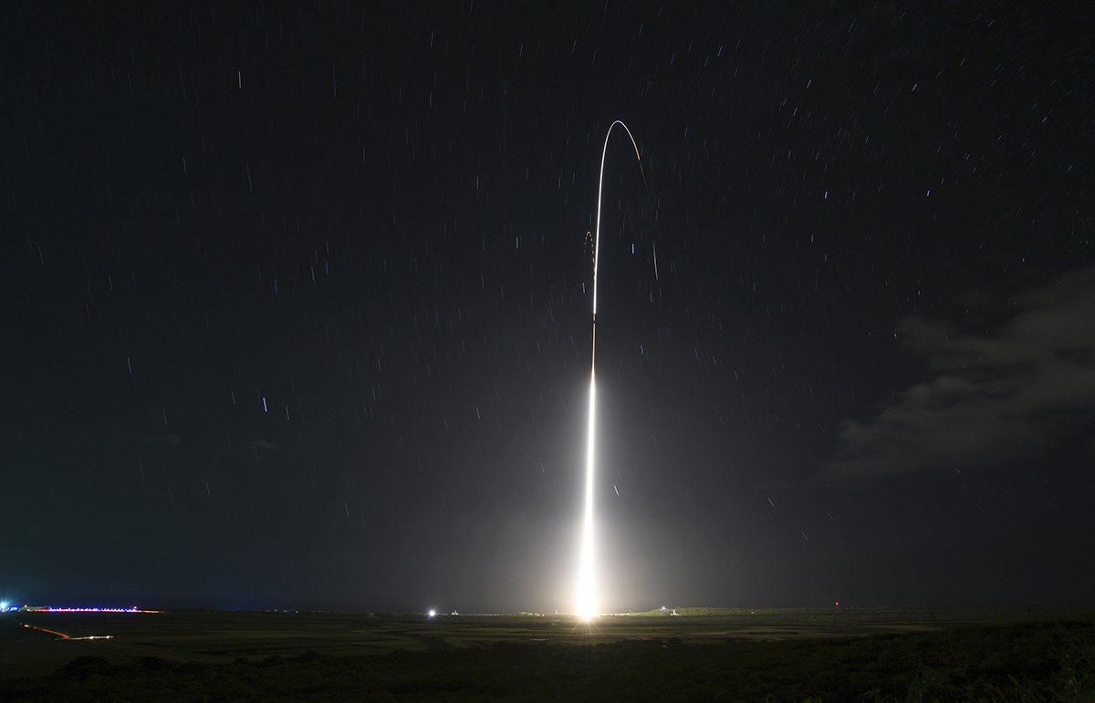 This Dec. 10, 2018 photo shows the launch of the U.S. military's land-based Aegis missile defense testing system, which later intercepted an intermediate range ballistic missile, from the Pacific Missile Range Facility on the island of Kauai in Hawaii. (Mark Wright/Missile Defense Agency via AP)