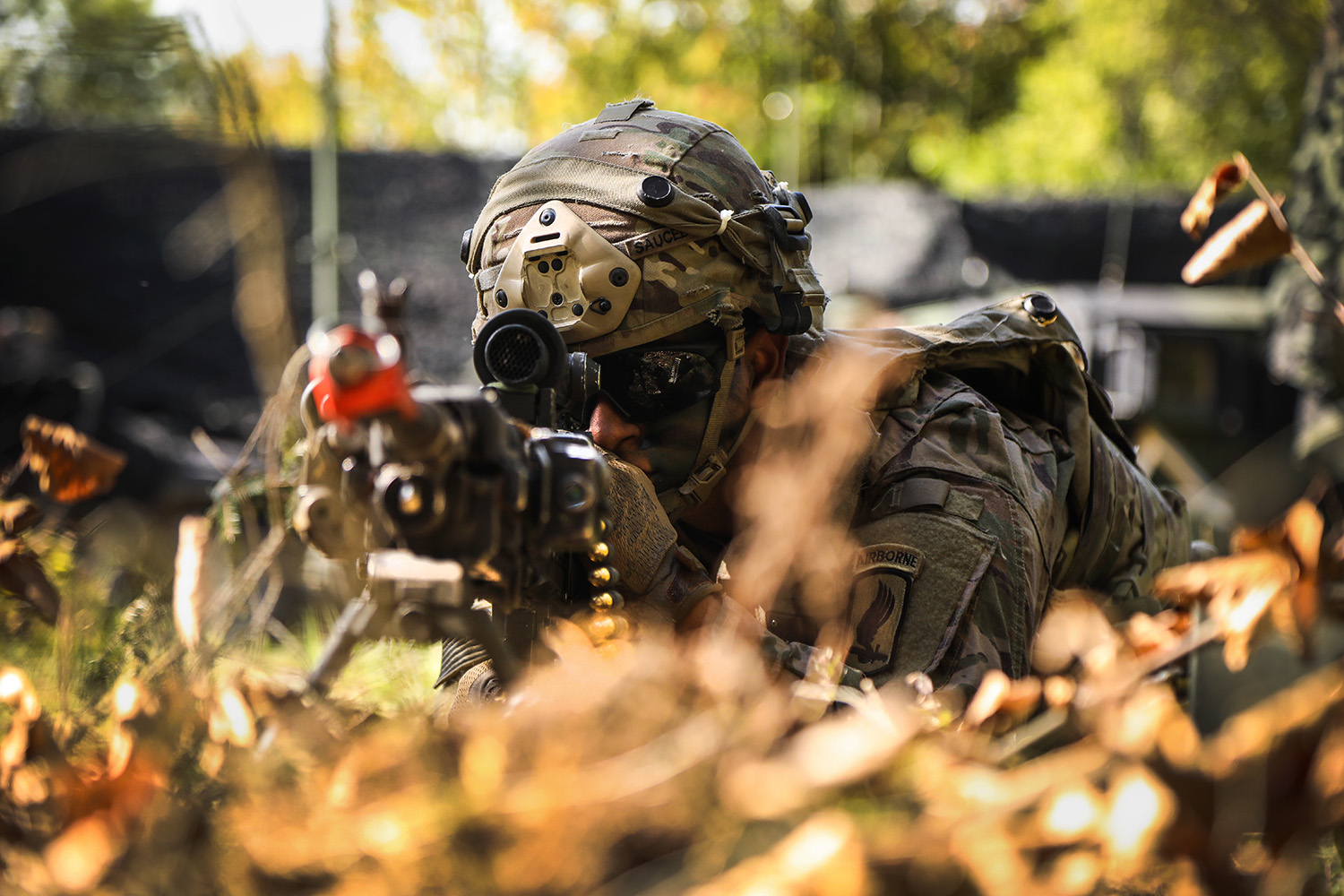 U.S. Army Pfc. Albino Saucedo scans his sector of fire during Saber Junction 19 at the Hohenfels Training Area in Germany, Sept. 20, 2019. (Spc. Meagan Mooney/Army)