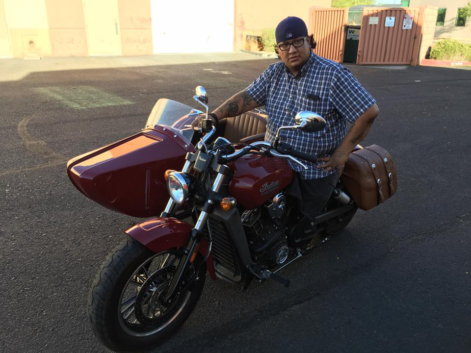 Retired Army Cpl. Joshua Stein is one of two wounded warriors who'll trade off driving and riding duties in a customized Indian Motorcycle bike with sidecar. (Courtesy of Veterans Charity Ride)
