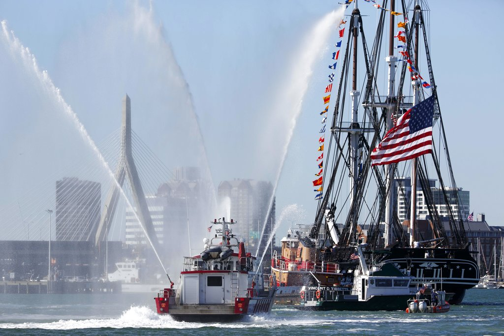 The USS Constitution heads back to dock, Friday, Oct. 20, 2017, in Boston. The newly refurbished ship, nicknamed Old Ironsides, took its first spin since October 2014 to celebrate the 220th anniversary of the iconic vessel's maiden voyage. (Michael Dwyer/AP)
