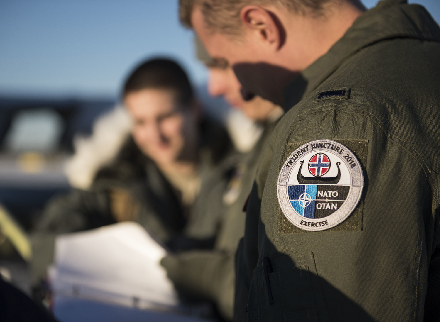 U.S. Air Force KC-135 Stratotanker aircrew conduct a preflight brief before takeoff during Exercise Trident Juncture 18 from Rovaniemi, Finland, Oct. 29, 2018. Exercise Trident Juncture is the largest NATO exercise since 2002, including 31 countries and more than 50,000 military members. (Senior Airman Luke Milano/Air Force)