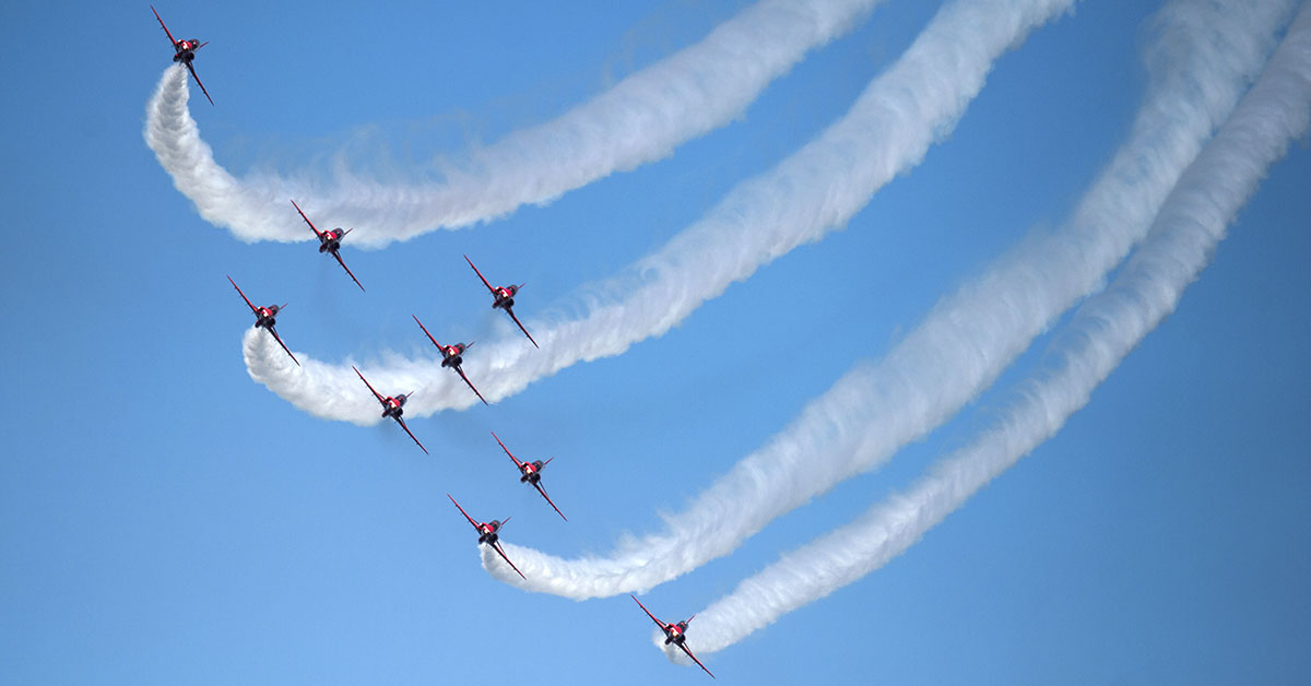 The Royal Air Force Aerobic Team, the Red Arrows, perform an aerobatic display during the national Armed Forces Day celebrations at Llandudno, north Wales, on June 30, 2018. (Oli Scarff/AFP via Getty Images)