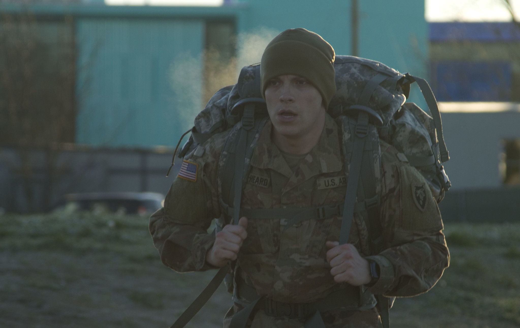 U.S. Army Spc. Jacob Hester-Heard participates in a 6-mile ruck march during the Best Warrior Competition near Claude T. Bowers Military Center Feb. 8, 2020. (Pfc. Logan Collier/Army National Guard)