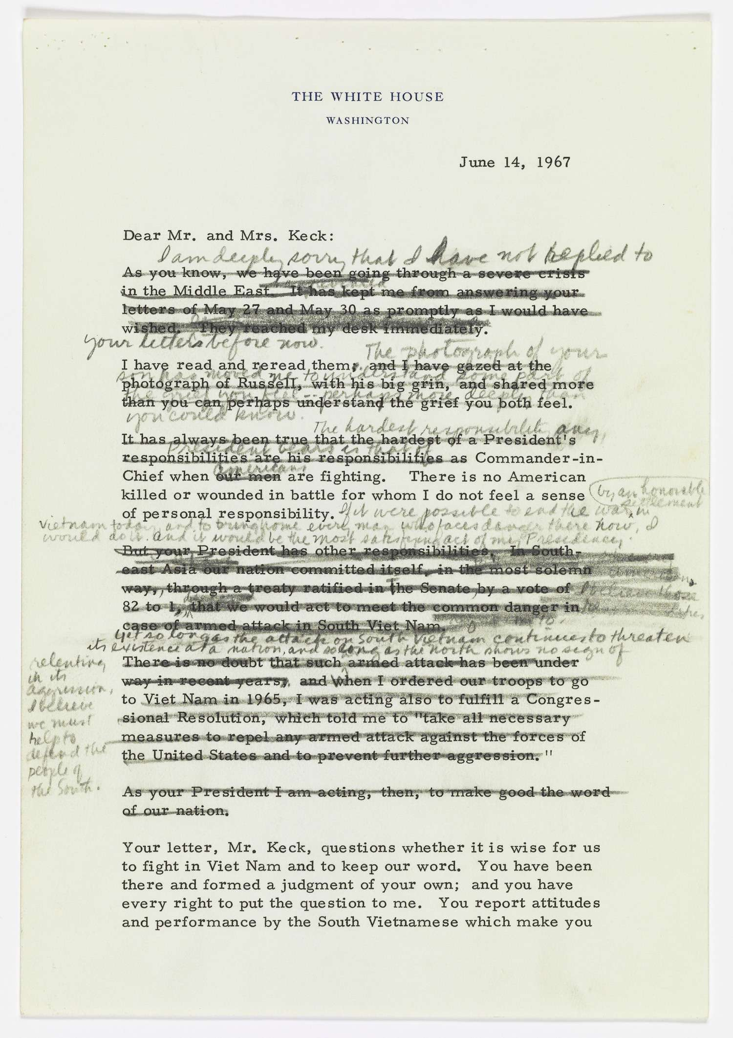 The parents of Marine Cpl. Russell Keck sent long letters to President Lyndon Johnson expressing anger and grief at losing their son. His draft reply, with layers of revised and rejected phrases, shows his struggle to respond. (National Archives/LBJ Library)